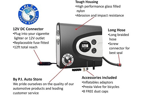 P.I. Auto Store Premium Digital Tire Inflator Features